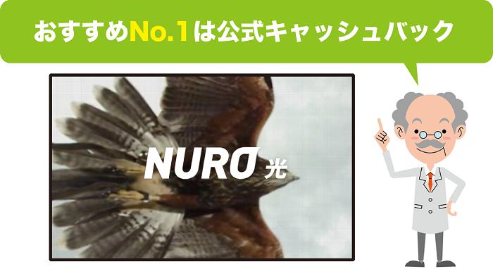 おすすめNo.1は公式キャッシュバック